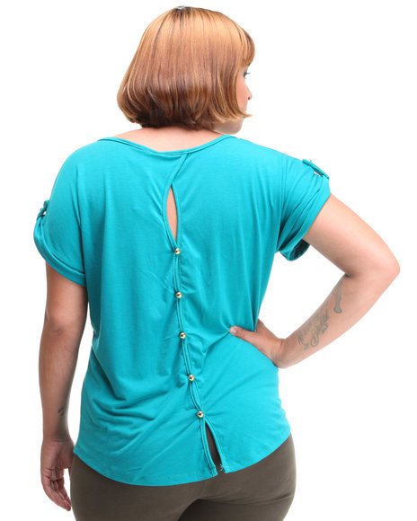 Basic Essentials Women Teal Cara Top W/Button Back Detail