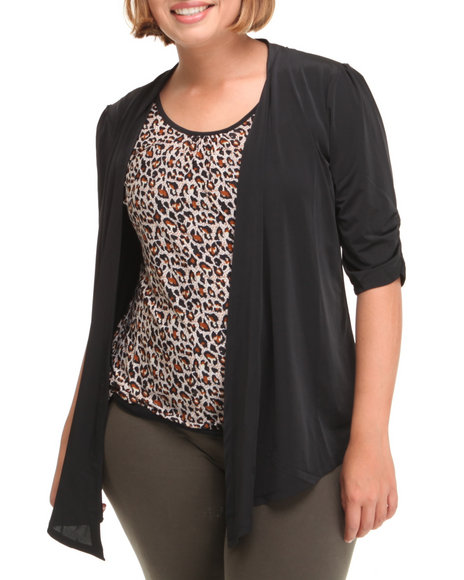 Fashion Lab Women Black,Brown 2-Fer Top (Plus)