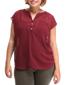 Basic Essentials - Chiffon short sleeve top w/button detail (plus)