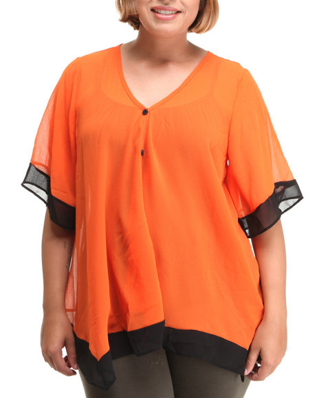 chiffon top w/color block detail (plus)