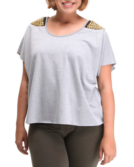 Fashion Lab Women Grey Studded Rocker Sweat Top (Plus)