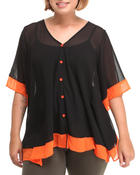 Women - Chiffon Top w/color block detail (plus)
