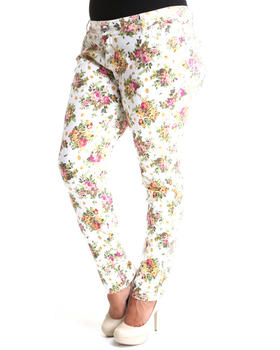 Basic Essentials - Vintage Off White Cabbage Rose Print Skinny Jean Pants (Plus)