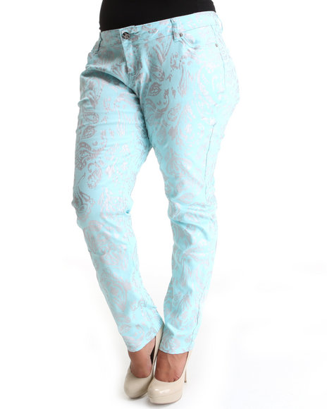 Basic Essentials Women Blue All Over Foil Paisley Print Skinny Jean Pants (Plus)