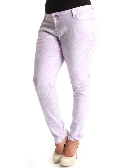 Basic Essentials Women Purple All Over Foil Paisley Print Skinny Jean Pants (Plus)