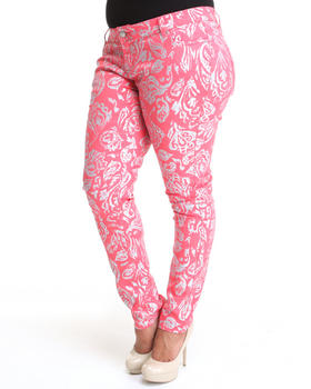 Basic Essentials - All Over Foil Paisley Print Skinny Jean Pants (plus)