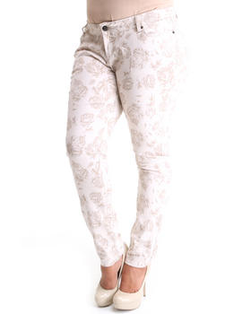 Basic Essentials - Tonal Rose Print Skinny Jean Pants (plus)