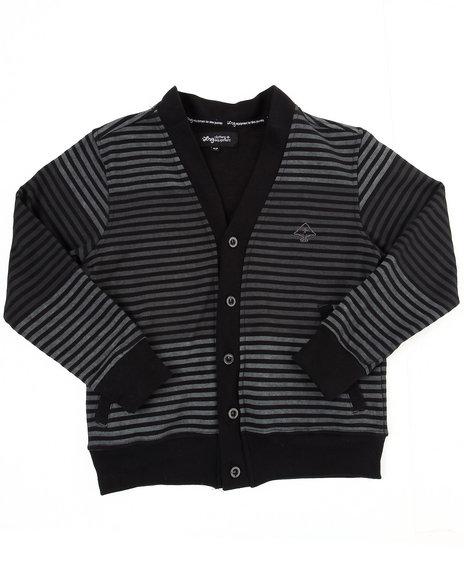 LRG Boys Black Striped Cardigan (8-20)