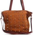 Women - Diamond Studded Suede Leather Tote Bag