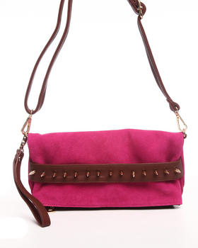 Fashion Lab - Studded Authentic Suede Leather Clutch w/attachable strap and ankle strap