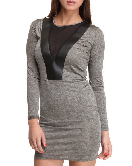 dress w/v-neck detail and mesh
