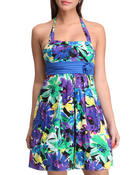 Women - Floral Halter Top Spring Dress