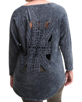 Fashion Lab - Laser cut long sleeve pullover (Plus)