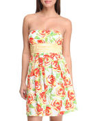 Women - Floral print tube top dress