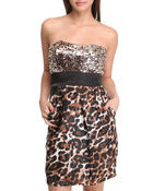 Women - Animal Print Sequins Top Dress w/tie