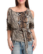 Women - Animal top w/RUCHING