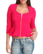 Women - Peplum Zip Up Top