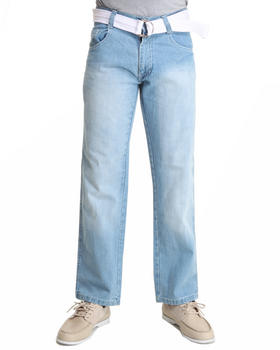 - Belted Denim Jean w Contrast Stitching