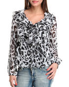 Long-Sleeve - Printed Ruffle top
