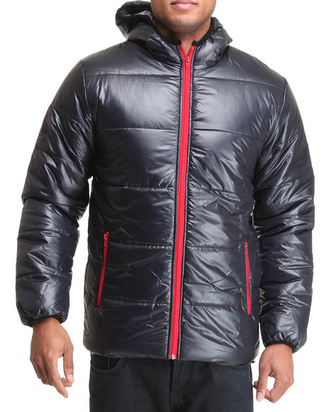 Rocawear Men Navy Hooded Puffer Jacket W/ Contrast Zipper