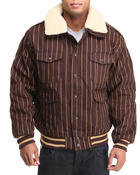 Men - Striped Bomber Jacket w/ detachable sherpa collar