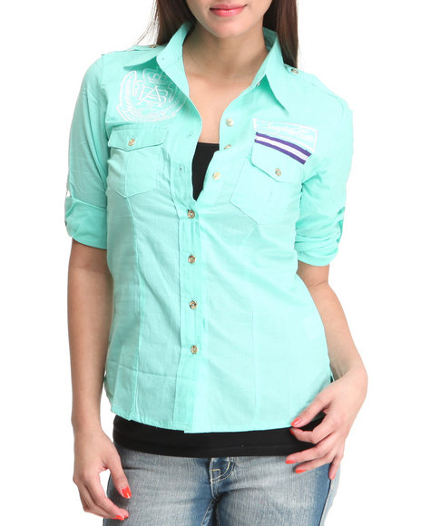 Apple Bottoms Women Teal Fitted Logo Roll-Up Sleeve Woman Top