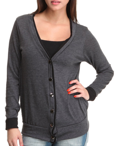 Basic Essentials Women Grey Study Cardigan