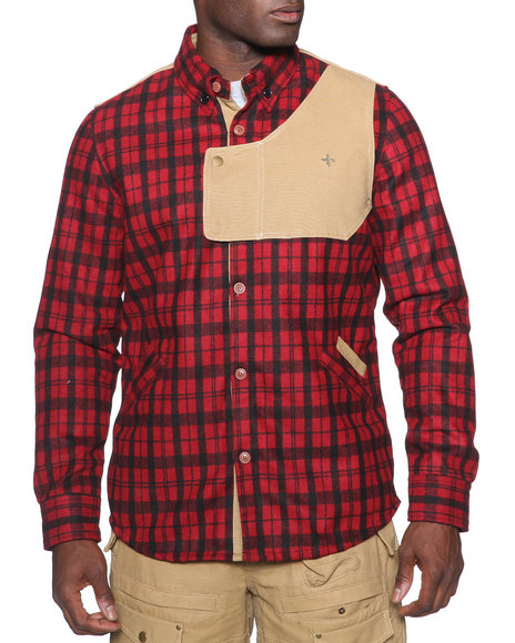 Psyberia - Urbaneer Flannel Button-Down Shirt Jacket