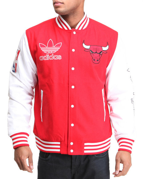 Adidas Men Red Chicago Bulls Classic Varcity Jacket