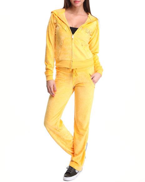 Rocawear Women Yellow Logo Velour Set