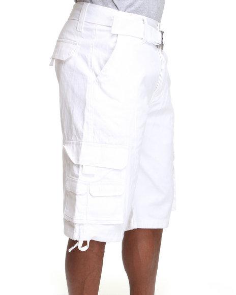 MO7 White Twill Cargo Shorts