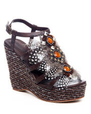 Fashion Lab - Teri Wedge w/Feather Detail