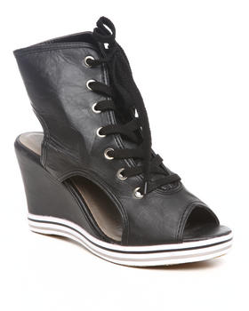 Fashion Lab - Peep Toe Wedge Sneaker