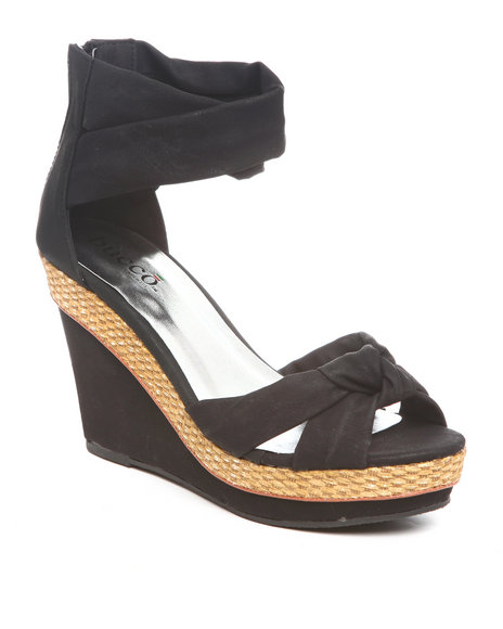 Fashion Lab Women Black Wedge Sandal W/Ankle Stripe