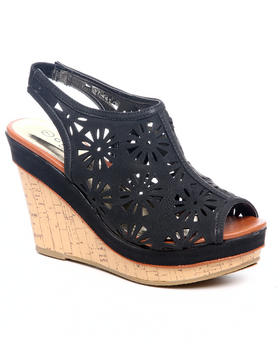 Fashion Lab - Perforated Black Faux Suede Wedge