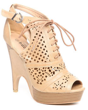 Fashion Lab - Em Laser Cutout Laceup Wedge