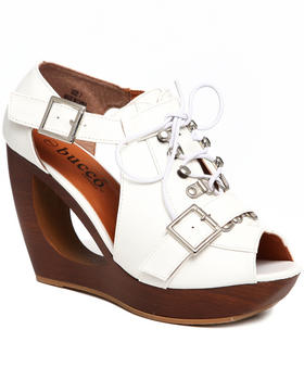 Fashion Lab - Deondra Donut Wedge Laceup w/buckles
