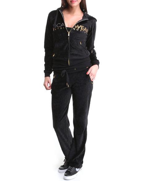 Rocawear Women Black Logo Velour Set
