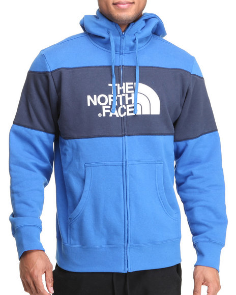 The North Face Men Blue Barked Blocked Full Zip Hoodie