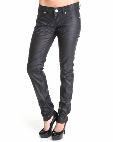Basic Essentials Women Black Coated Skinny Jeans