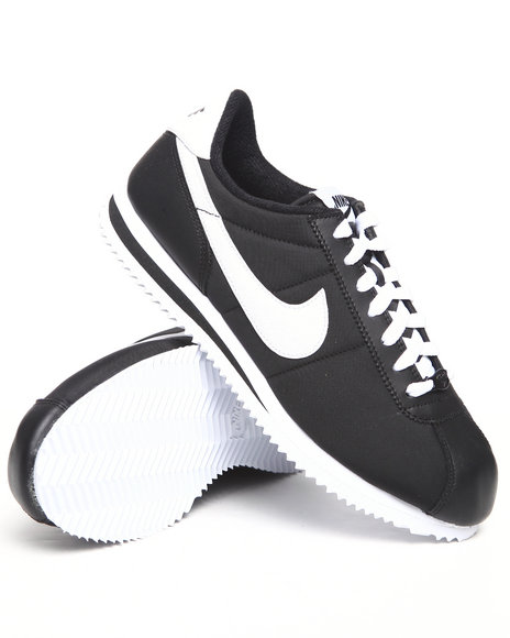 Nike Men Black Cortez Basic Nylon Sneakers