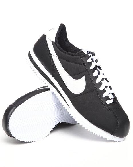 Nike Men Black Cortez Basic Nylon Sneakers