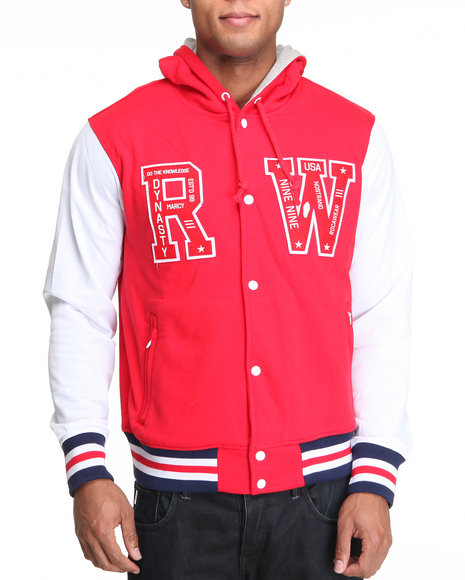 Rocawear Men Red Roc Forever Hooded Varsity Jacket
