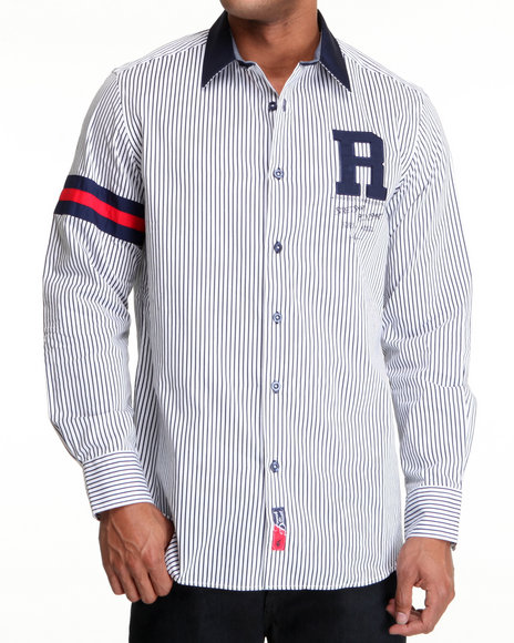 Rocawear Men White Pinstripe Rugby Button-Down