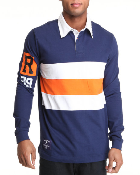 Rocawear Men Blue Gold Mind L/S Rugby