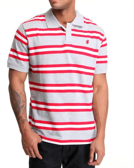 Rocawear Men Grey,Red Mini Flame Stripe Polo