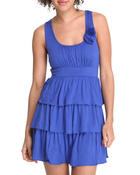 Women - Ruffle Tiered Sun Dress w/ Flowers