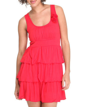 Basic Essentials - Ruffle Tiered Sun Dress w/ Flowers