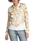 Women - Scarf print light weight bomber jacket