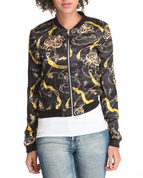 Fashion Lab - Scarf print light weight bomber jacket